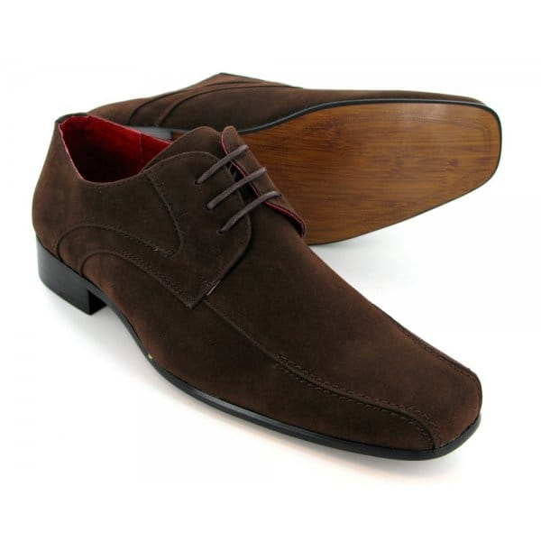 mens suede lace up casual shoes brown shuperb