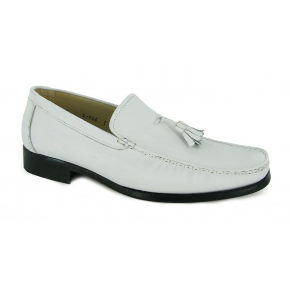 leather hand made spanish tassel loafers white mod shoes tassle ebay