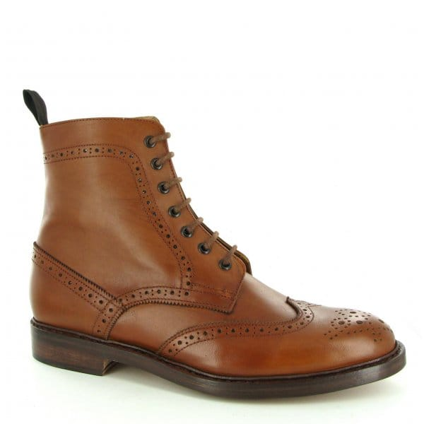 John-White-BALMORAL-Mens-7-Eye-Brogue-Leather-Derby-Chelsea-Boots-Burnished-Tan