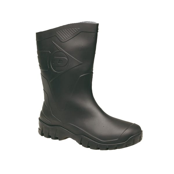 Dunlop-HEVEA-Unisex-Half-Length-Wide-Calf-Wellington-Welly-Boots-Wellies-Black