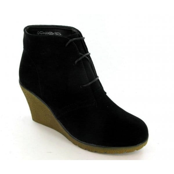 womens faux suede leather desert boots black wedge