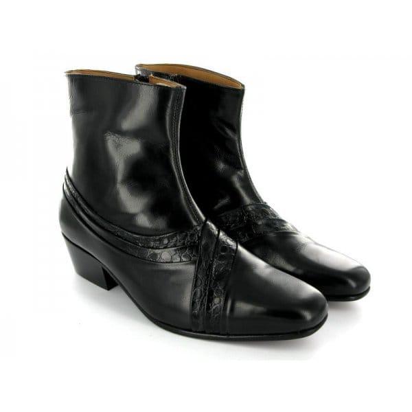 montecatini arturo mens cuban heel reptile leather boots