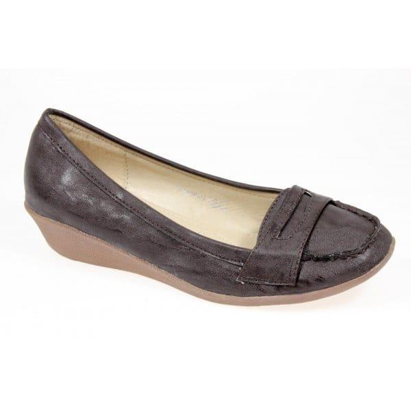 shuperb loafer wedge heel shoes brown