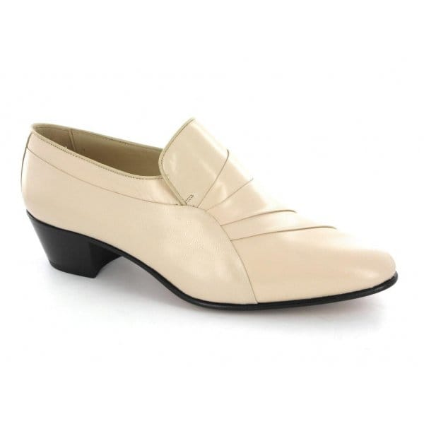 mens leather cuban high heel formal dress shoes beige