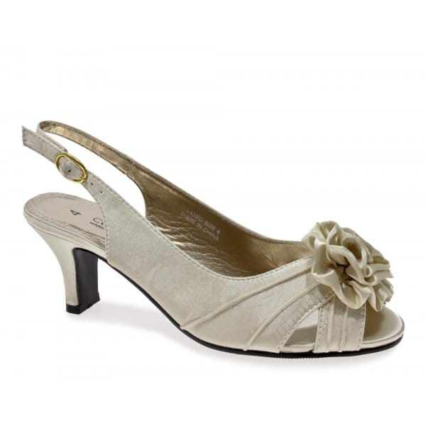 plus wide fitting slingback satin shoes ivory wedding party slingbacks