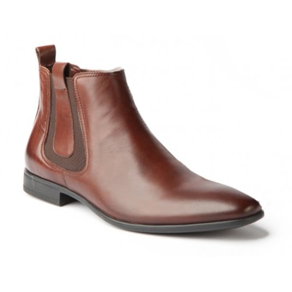 white sterling mens leather chelsea boots brown