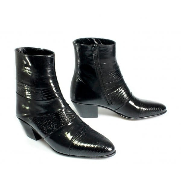 mens cuban heel leather boots black made by