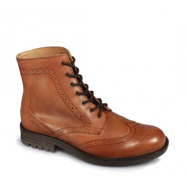mens 6 eyelet brogue soft leather ankle derby boots