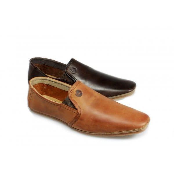 ikon hugh mens slip on leather loafers brown ikon