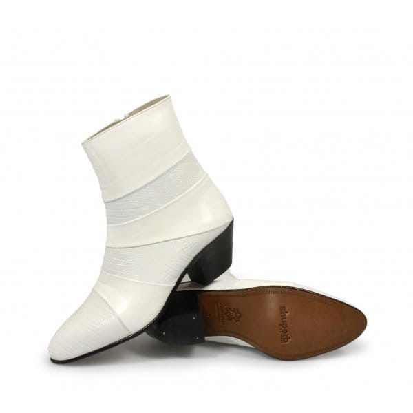 mens cuban heel leather boots white made by