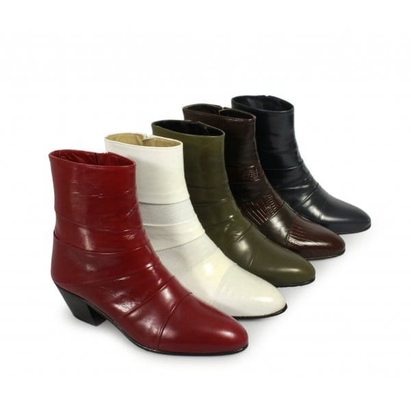 mens cuban heel leather boots snakeskin made by