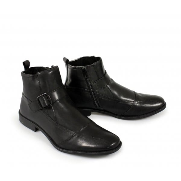 roamers viera mens zip soft leather ankle boots black
