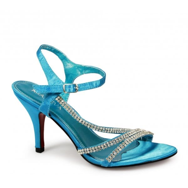 womens high heel diamante satin wedding prom