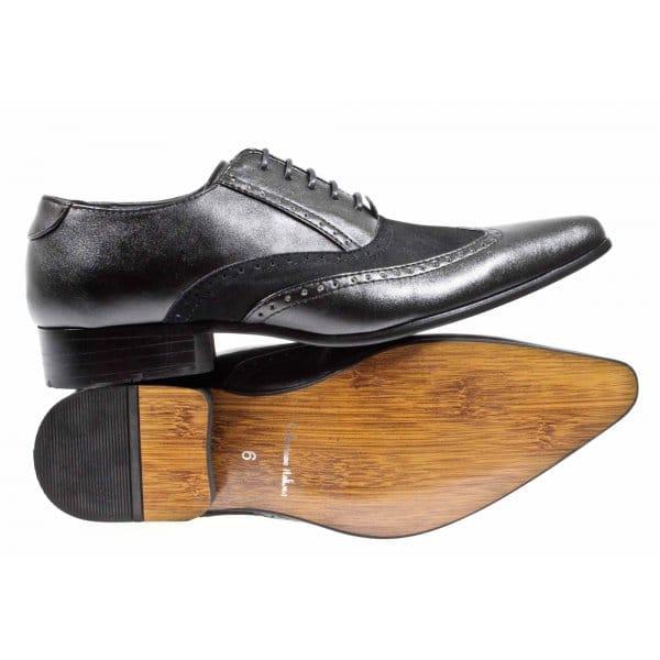shuperb peski mens pointed winklepicker shoes black