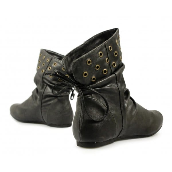 Beautiful  Studded Zip Up Womens Flat Pixie Chelsea Ankle Boots Shoes Size 510