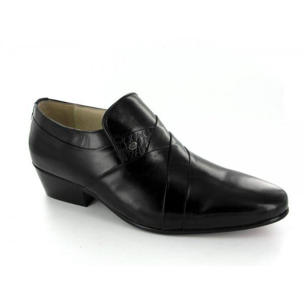 mens soft leather cuban high heel formal dress shoes black