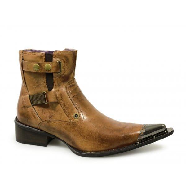 gucinari mens leather pointed metal toe funky rocker