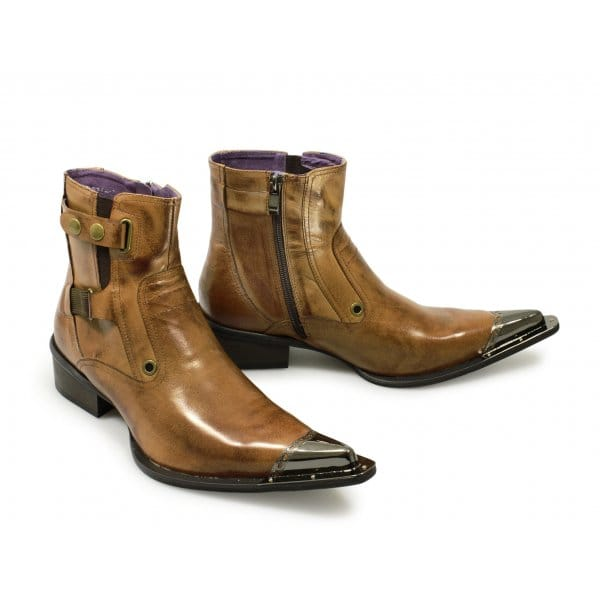 gucinari marbella mens pointed metal toe zip boots