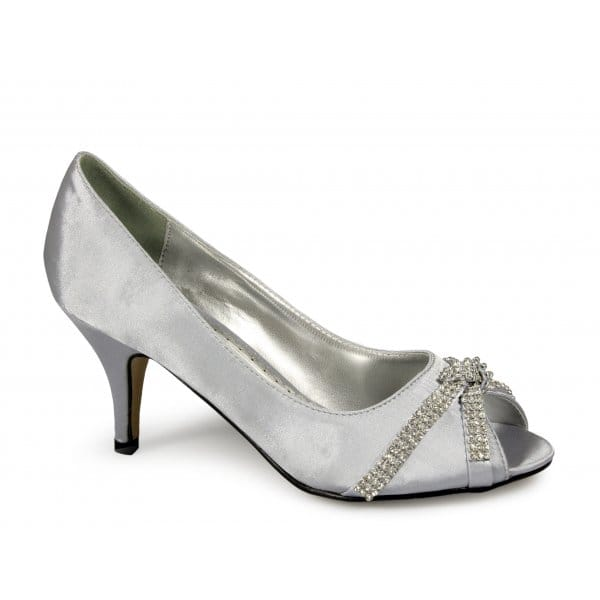 Womens Ladies Low Heel Satin Diamante Wedding Evening Prom Party Shoes Silver