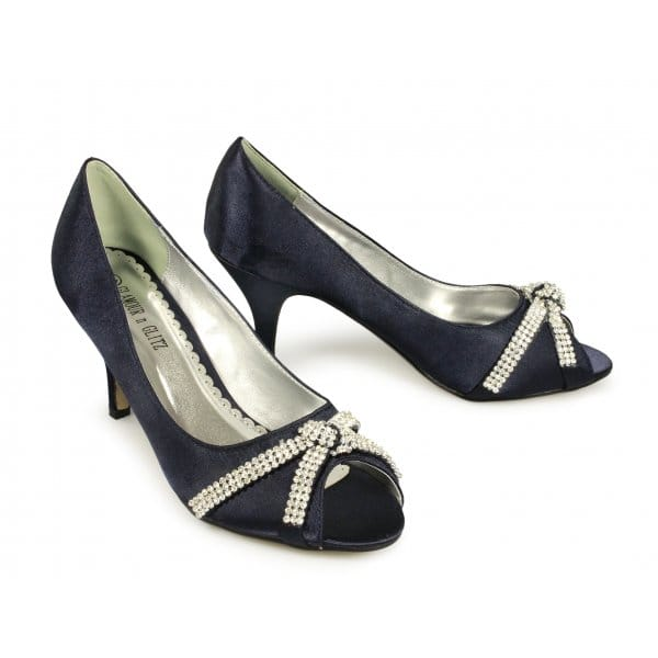 glitz stella low heel satin diamante shoes navy