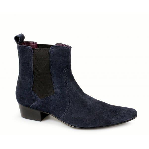 gucinari mens blue suede cuban heel pointed leather