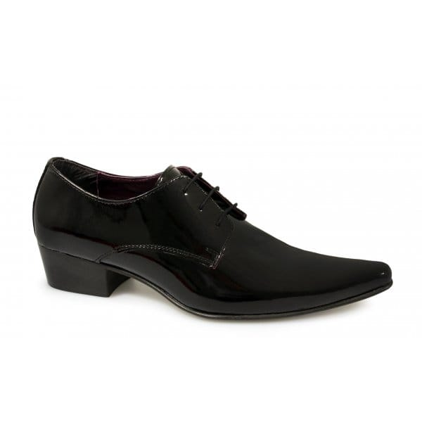 gucinari mens cuban heel formal pointed lace up patent