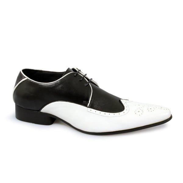 mens lace up pointed black white smart brogue gangster