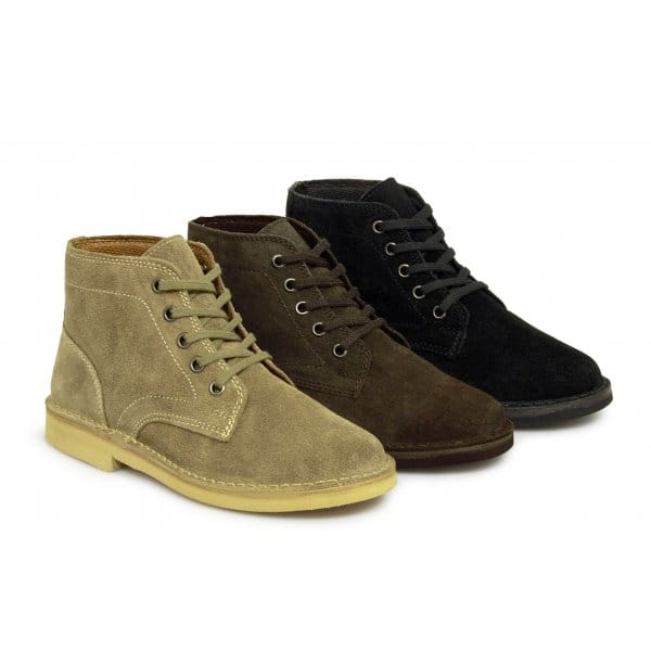 roamers mens suede leather lace up desert boots taupe