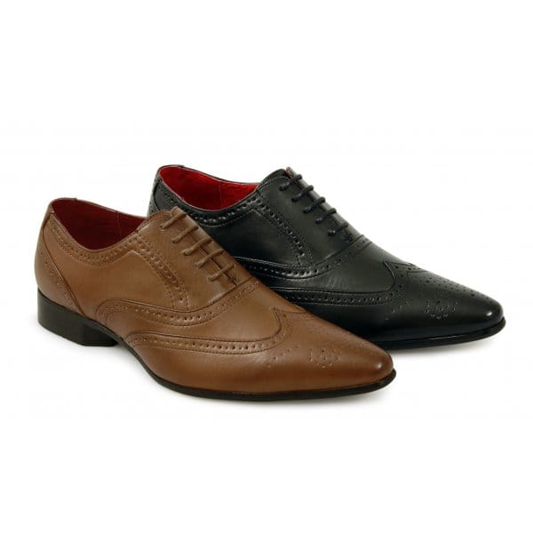 shuperb frank mens pointed brogue shoes black shuperb