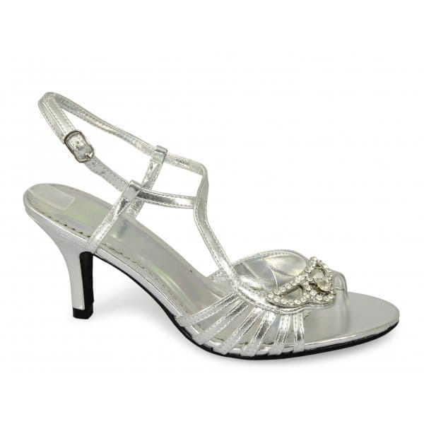 Silver Mid Heel Shoes