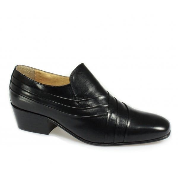 mens soft leather pleated cuban high heel dress