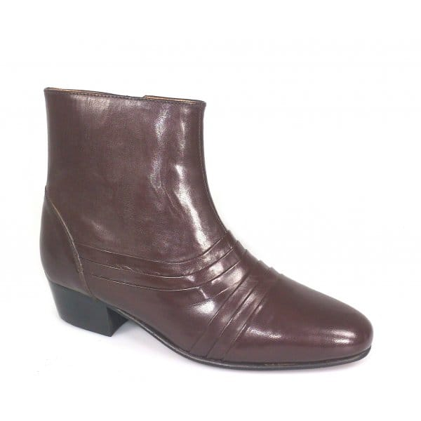 renaissance antonio mens cuban heel plain leather boots