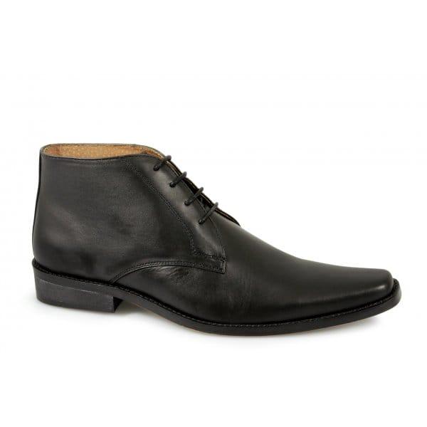 renaissance milan mens 4 eyelet leather chukka boots black