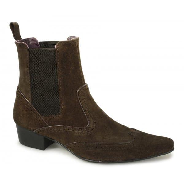 gucinari harley mens pointed suede brogue cuban heel