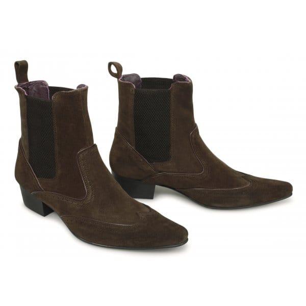 buy gucinari mens pointed suede brogue chelsea boots brown
