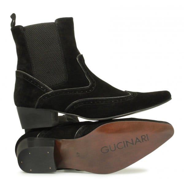 buy gucinari mens pointed suede brogue chelsea boots black
