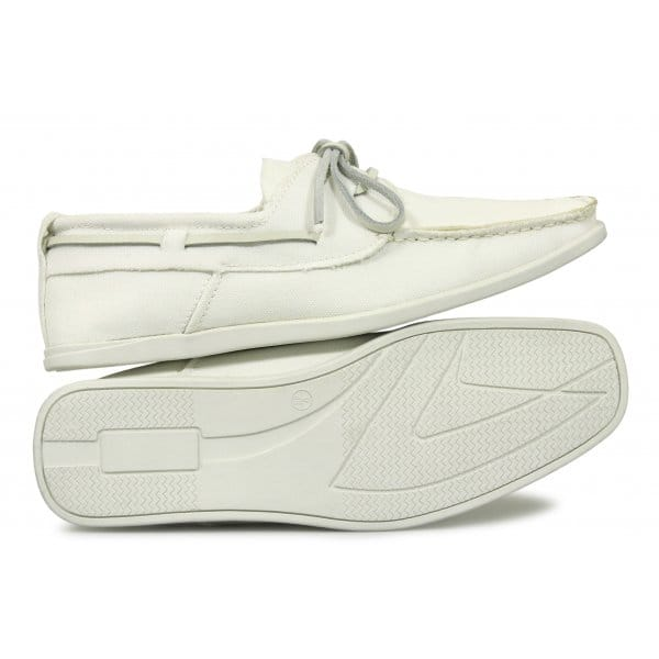 7eventy 9 mens lace up canvas boat shoes white