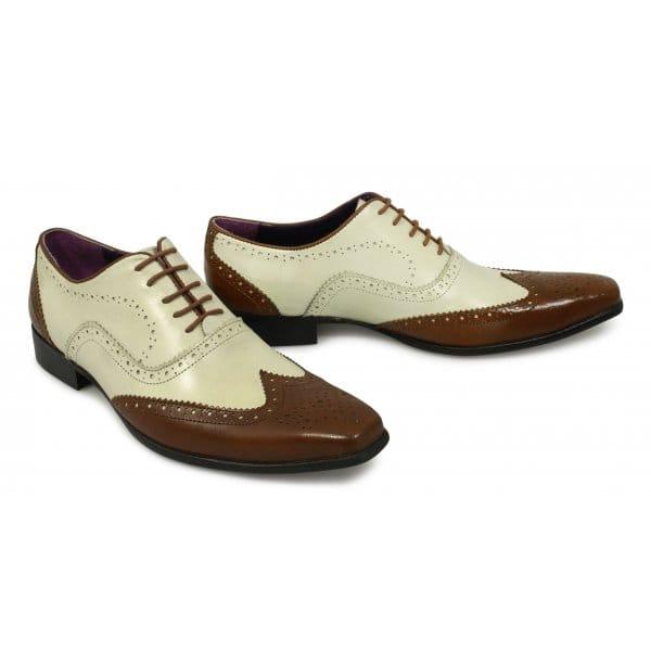 gucinari mens funky leather brogue shoes beige buy