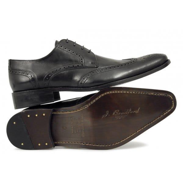 j bradford mens leather formal wedding brogue shoes black