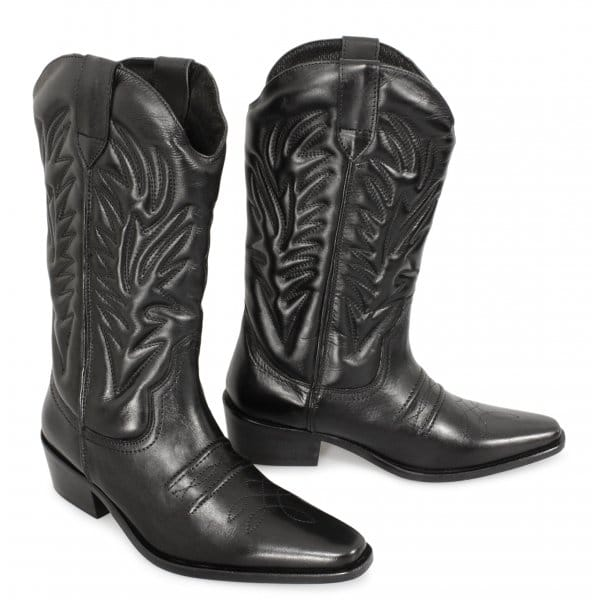 gringos mens calf length leather cowboy boots black buy