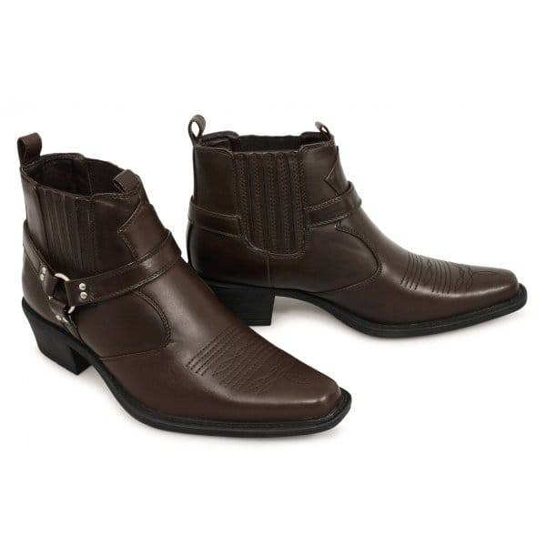 us brass eastwood mens embroidered ankle cowboy boots