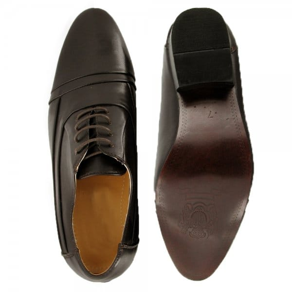 mh collection mens faux leather formal lace up shoes brown