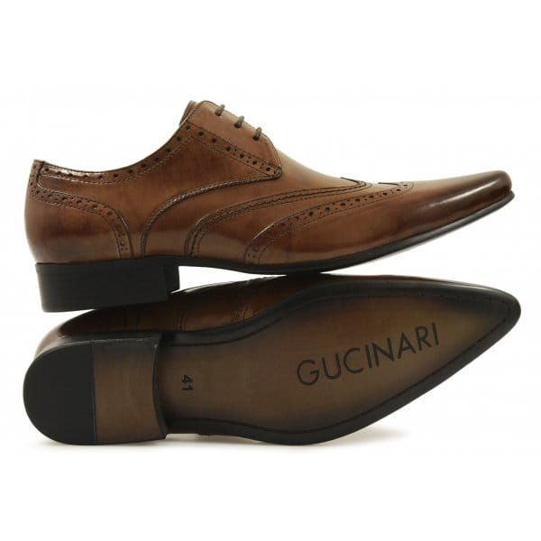 gucinari mens leather lace up brogue formal shoes