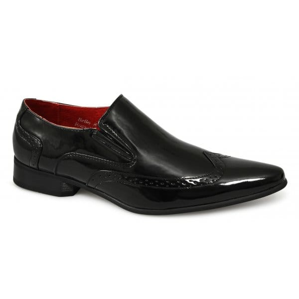 mens brogue shiny patent style gusset pointed formal