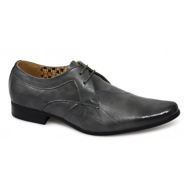 front mens wrinkled leather lace up pointed toe