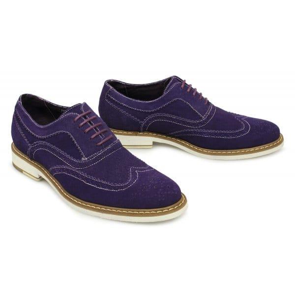gucinari mens suede leather brogue shoes purple buy
