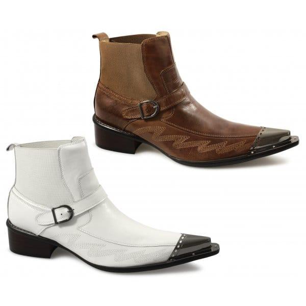 gucinari mens leather buckle metal toe boots brown buy