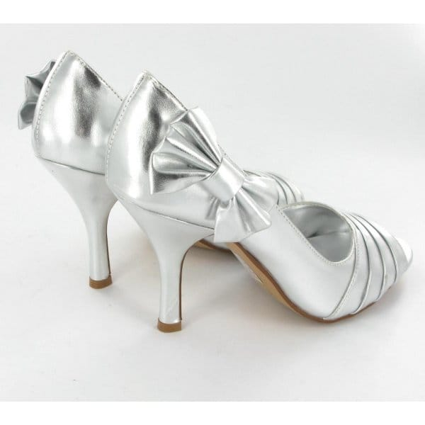 anne michelle womens ladies bow heels shoes silver buy