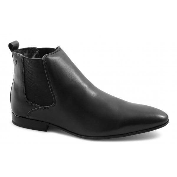 base stag mens leather slip on pointed formal ankle