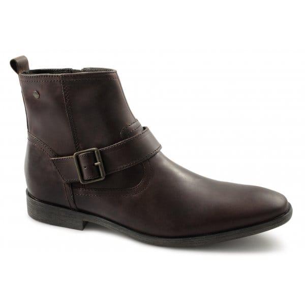 base fennel mens leather buckle zip chisel toe